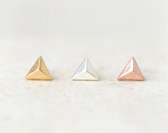 Tiny Pyramid earrings / choose your color / gold, silver and pink gold