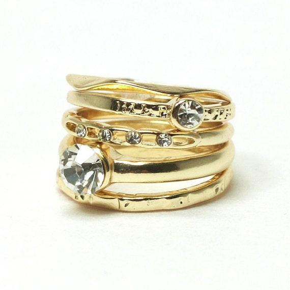 Gold stacking rings-set of 5 / sz7