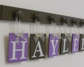 Decorative Name Letters for Wall Sign HAYLEE  includes 6 Wooden Peg Shelf Painted Lilac and Brown.