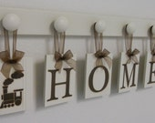 HOME with TWO TRAINS set includes Chocolate Brown letters and 6 peg shelf in Linen White