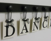 DANCE Art for Teenagers Room Sign - 5 Wood Knobs Painted Black Wall Letters DANCE - NelsonsGifts