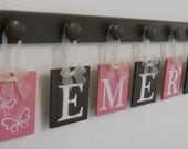 Personalized Children's Gifts EMERY with BUTTERFLIES Nursery  Includes 7 Wooden Pegs  Pink and Brown