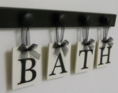 BATH Sign Personalized Handmade Hanging Letters Set Includes 4 Wooden Hooks and letters Painted Black. Restroom Wall Decor