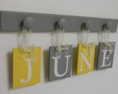 JUNE Nursery Wooden Wall Letters Sign Set Includes 4 Wooden Hooks in Yellow and Gray. Personalized Hanging Ribbon Letters for JUNE
