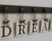 DREAM Sign Wall Decor Hanging Wall Letter Sign with 5 Wooden Hangers Brown Bedroom Wall Decor