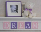 "Purple Dream Shelves Personalized Nursery Decor 24"" Shelf With 5 Letter Wooden Tiles Painted Linen White, Light Pink and Lilac - DREAM"
