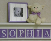 "Purple Baby Girl Nursery Decor 24"" Linen (Off White) Shelf with 6 Letter Wooden Tiles Painted Lilac - SOPHIA"