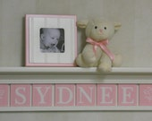 "Baby Girl Name Sign Soft Pink Nursery Decor 30"" Shelf With 8 Wood Letters - SYDNEE with Flowers"