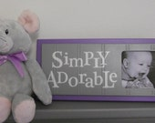 Purple and Gray Nursery Wall Decor Sign - Lavender Pastel Grey Baby Nursery Picture Frame - SIMPLY ADORABLE