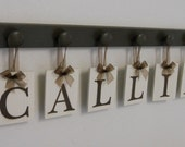 Personalize Childern Wall Decor Wooden Letters for CALLIE with 6 Wooden Hooks Chocolate Brown