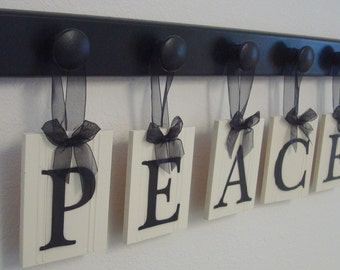 Shabby Chic Cottage Peace Sign, Home Decor Wood Peace Sign, Decorative Wall Letters Includes PEACE - 5 Wooden Hangers in Black