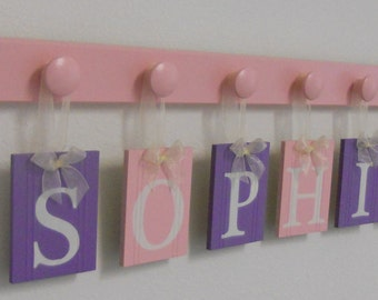 Personalized Baby Gifts Nursery Letters Set Includes Wood Name SOPHIA and 6 Wooden Pegs Soft Pink and Purple