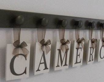 Personalized Children Name Sign Set includes Pegs Chocolate Brown Baby Nursery Decor