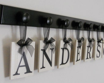 Personalized Family Name Signs - Custom Last Names, Personalized Wood Sign, Wedding Gift, Set Includes Black Peg Hanger