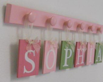 SOPHIA - Wooden Letters Nursery Includes Childrens Names 6 Wood Hooks in Pink and Light Pink and  Light Green. Custom Kids Wall Art