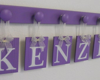 Wooden Letters for Girls Room Set Includes 6 Peg Hooks - Name KENZIE Purple Baby Girls Room Wall Decor