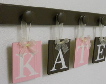 Toddler Gift | Toddler Wall Decor | Wooden Name | Letters Art for Nursery | Light Pink and Chocolate Brown |  Toddler Girl Room Name Sign