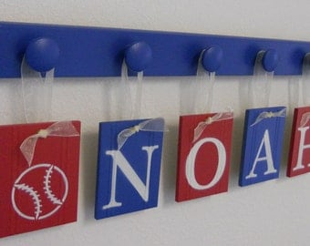 BASEBALL Nursery Decorating Ideas Set includes Wooden Hooks Red and Blue