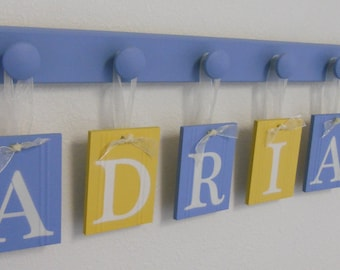 Sign Children Name | Wall Hangings Decor | Sign includes Wooden Hooks to Hang in Light Blue and Yellow