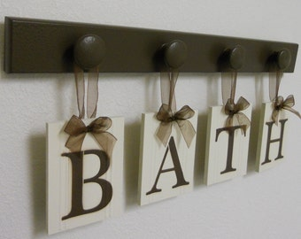 Wood Words BATH Sign Custom Bathroom Set Painted in Chocolate Brown Restroom Wall Decorating Idea