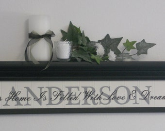 "This Home Is Filled With Love & Dreams - Family Name Shelf 30"" in Black or Chocolate Brown with Personalized Wooden Name Sign and Verse"