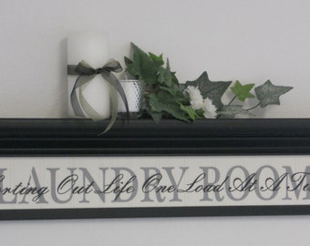 """Laundry Room Wall Decor Art 30"""" Shelf Black with Sign - LAUNDRY ROOM - Sorting Out Life One Load At A Time"""