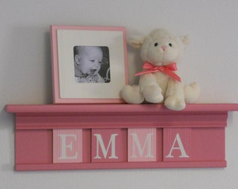 "Pink Baby Shower Decorations - Baby Girl Nursery Decor - EMMA - 24"" Shelf with 4 Wooden Letters"