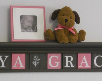 Pink and Chocolate Brown Nursery Decor Letter Shelf with Wooden Name Tiles | Baby Girl Gifts