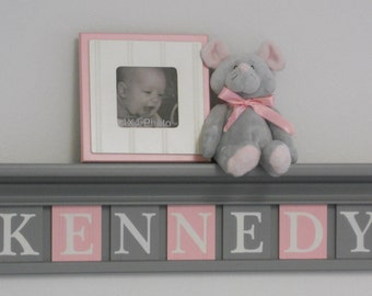 Kids Furniture Painted Pink and Gray Nursery Baby Girl Grey Shelf - Sign with Light Pink / Gray Custom Wood Letter Plaques