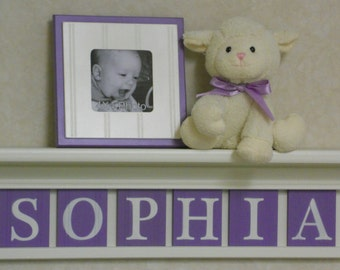 Purple Name Baby Girl Nursery Decor White or (Off White) Shelf with Letter Wooden Tiles Painted Lilac