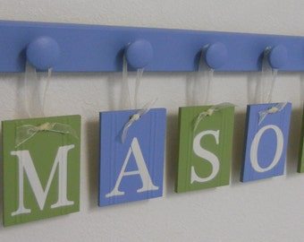PERSONALIZED NAME - Custom Nursery Letters - Personalized Baby Name Wall Hanging - Personalized Gifts with Wooden Pegs Blue and Light Green