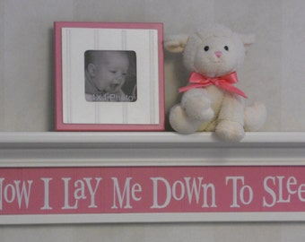 "Pink Baby Nursery - Now I Lay Me Down To Sleep - Sign on 30"" Shelf - Pink Verse Inspirational Christian Wall Art for Nursery"