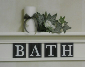 Bathroom Wall Shelf - Home Decor Off White and Black, White or (Off White) Shelf with Black Wooden Letter Tiles for BATH