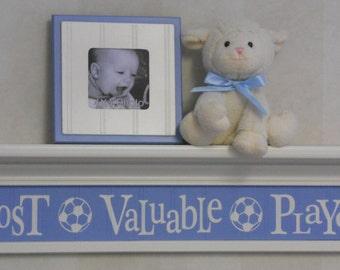 "Blue Baby Nursery Sign - Most Valuable Player -  Sign on 30"" Shelf - Soccer Ball Sport Wall Decor Baby Nursery"