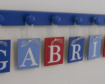 Personalized Baby Gift Customized Sign includes Name GABRIEL and 7 Wooden Pegs Light Blue, Blue and Red