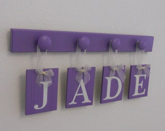 Purple Personalized Children Decor | Wooden Custom Name | Letters and Wood Peg Hooks in Lilac