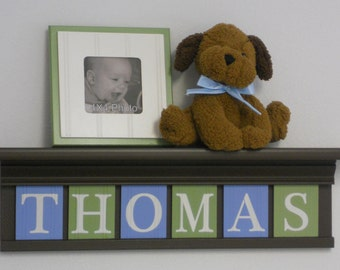 "Personalized Childern Nursery Decor 24"" Shelf With 6 Letter Wooden Tiles Painted Light Blue, Light Green  and Chocolate Brown - THOMAS"