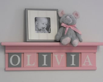 Personalized Children Nursery Decor Shelf with Wooden Block Letters, Tiles Painted Light Pink and Gray