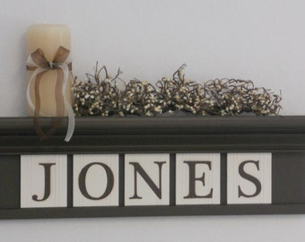 Wedding Gift Personalized Family Name Signs Chocolate Brown Shelf with Customized Wooden Letter Plaques