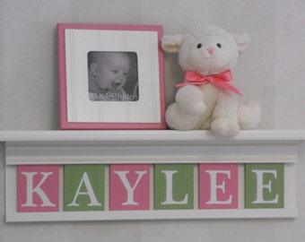 Personalized Children's Nursery Decor White or (Off White) Shelf with Letter Wooden Tiles Painted Pink and Light Green