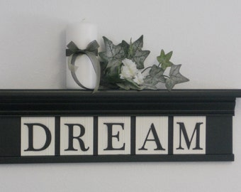 "Personalized Dream Sign 24"" Black Shelf with 5 Wooden Letter Tiles Painted Black Customized for DREAM"