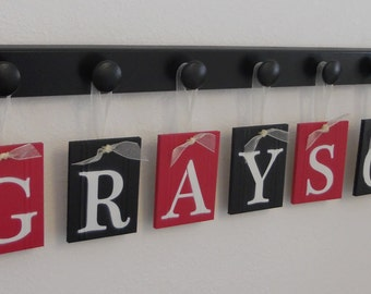 Children Wall Decor GRAYSON Personalized Nursery Name Sign Includes 7 Hooks Black and Red. Simple Bedroom Decorating Ideas