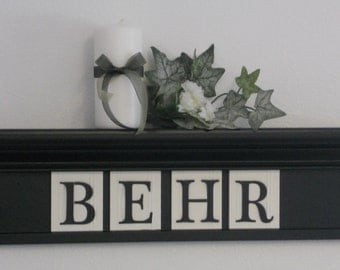 """Personalized Family Name Signs 24"""" Black Shelf with 4 Wooden Letter Tiles Painted Black Customized for BEHR"""
