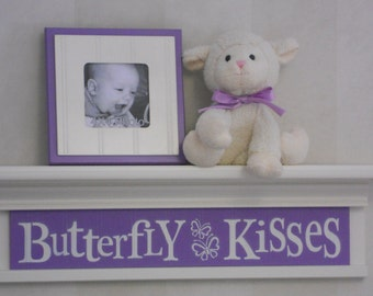 "Purple Baby Nursery - Butterfly Kisses - Sign on 24"" Shelf White or (Off White) and Lilac Children Wall Art Nursery Decor"