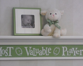 "Green Nursery Decor - Most Valuable Player - Sign on 30"" Shelf White and Pastel Green Football Sport Wall Decor Baby Nursery"