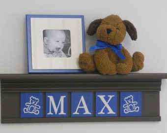 "Teddy Bear Nursery Decor 24"" Shelf With 5 Letter Wooden Tiles Painted Blue and Brown - MAX with Teddy Bear"