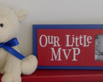 Red White and Blue Nursery Decor Baby Boy Nursery Sports Photo Frame OUR LITTLE MVP