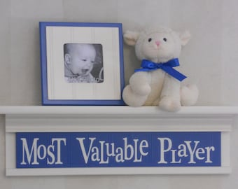 "Most Valuable Player on 24"" Shelf Linen (Off White) and Blue Sport Wall Decor Baby Nursery Wall Art"