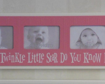 Twinkle Twinkle Little Star - Childrens Art Frame Pink Girls Baby Nursery 4x6 Picture Frame