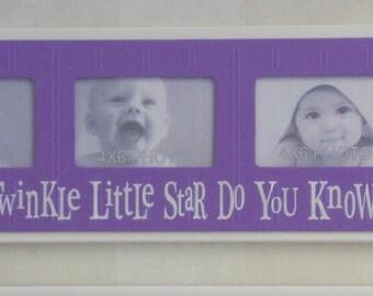 Twinkle Twinkle Little Star - Childrens Art Frame Purple Girls Baby Nursery 4x6 Picture Frame